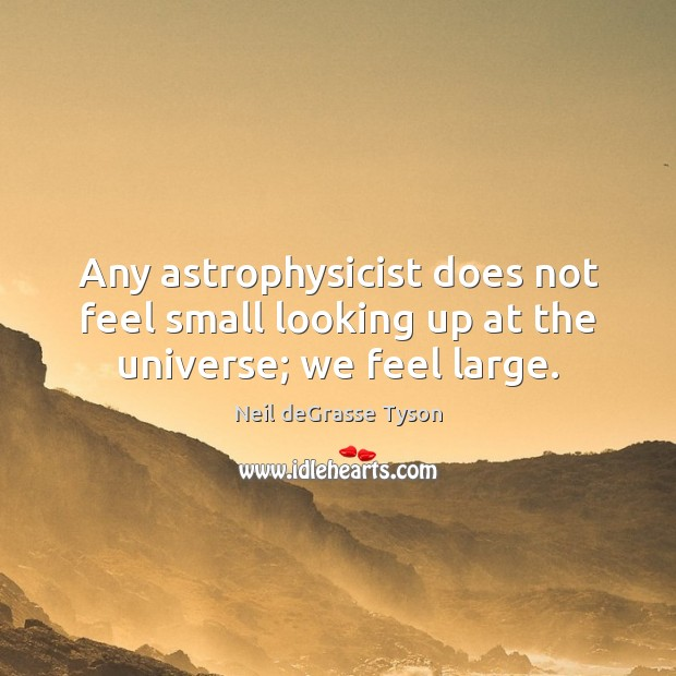 Any astrophysicist does not feel small looking up at the universe; we feel large. Neil deGrasse Tyson Picture Quote