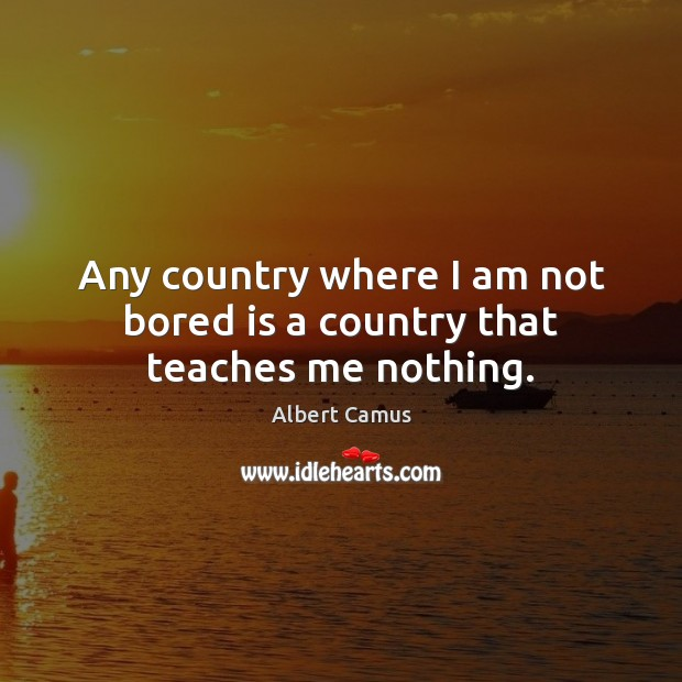 Image, Any country where I am not bored is a country that teaches me nothing.