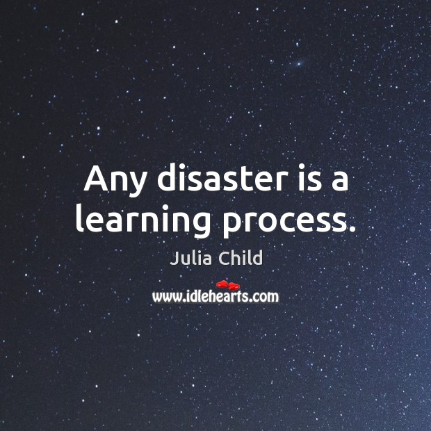 Any disaster is a learning process. Julia Child Picture Quote