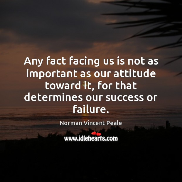 Image, Any fact facing us is not as important as our attitude toward