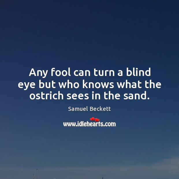 Any fool can turn a blind eye but who knows what the ostrich sees in the sand. Samuel Beckett Picture Quote