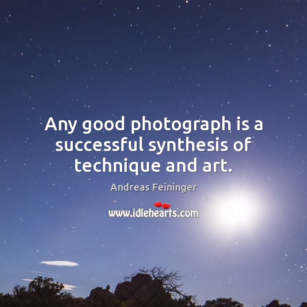Any good photograph is a successful synthesis of technique and art. Andreas Feininger Picture Quote