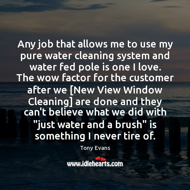 Any job that allows me to use my pure water cleaning system Tony Evans Picture Quote
