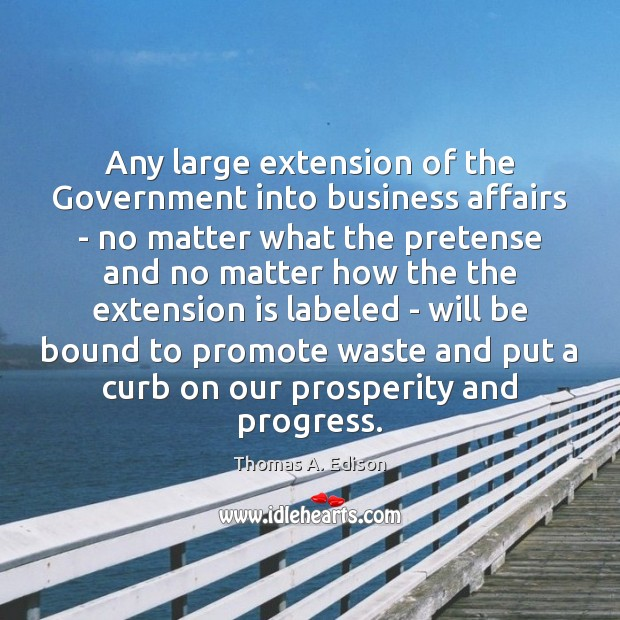 Any large extension of the Government into business affairs – no matter Thomas A. Edison Picture Quote