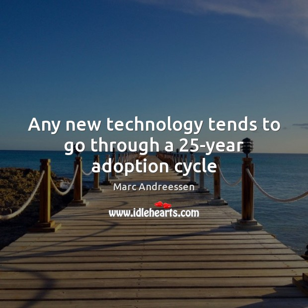 Any new technology tends to go through a 25-year adoption cycle Marc Andreessen Picture Quote