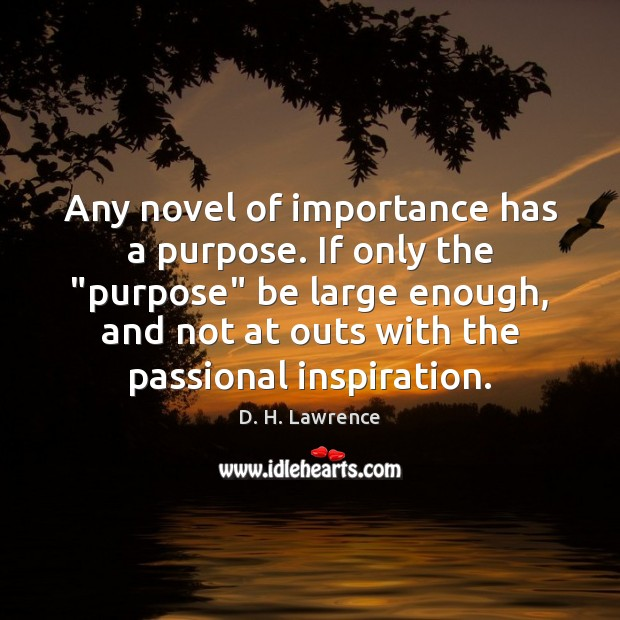 """Any novel of importance has a purpose. If only the """"purpose"""" be Image"""