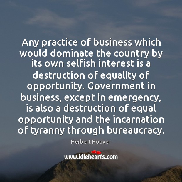 Any practice of business which would dominate the country by its own Image