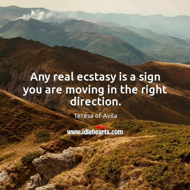 Image, Any real ecstasy is a sign you are moving in the right direction.