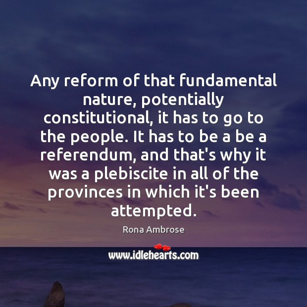 Any reform of that fundamental nature, potentially constitutional, it has to go Image