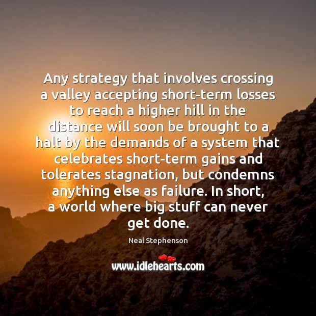 Any strategy that involves crossing a valley accepting short-term losses to reach Failure Quotes Image