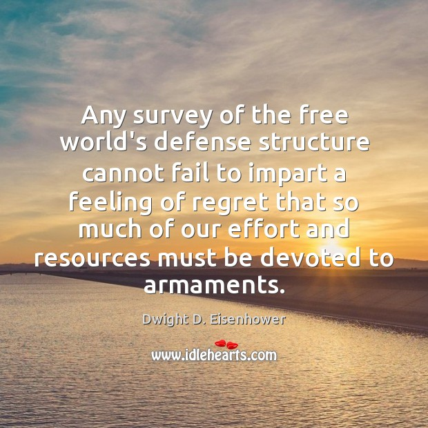 Any survey of the free world's defense structure cannot fail to impart Dwight D. Eisenhower Picture Quote