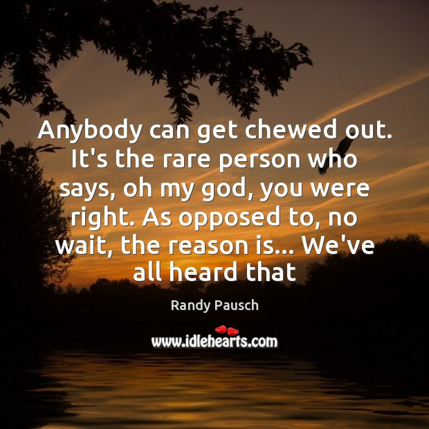 Anybody can get chewed out. It's the rare person who says, oh Image