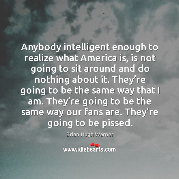 Image, Anybody intelligent enough to realize what america is, is not going to sit around and do nothing about it.