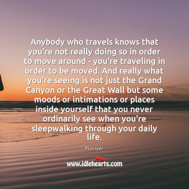 Anybody who travels knows that you're not really doing so in order Pico Iyer Picture Quote