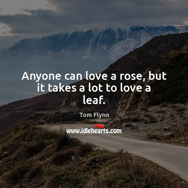 Image, Anyone can love a rose, but it takes a lot to love a leaf.
