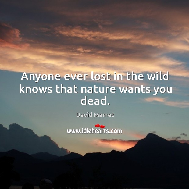 Anyone ever lost in the wild knows that nature wants you dead. Image