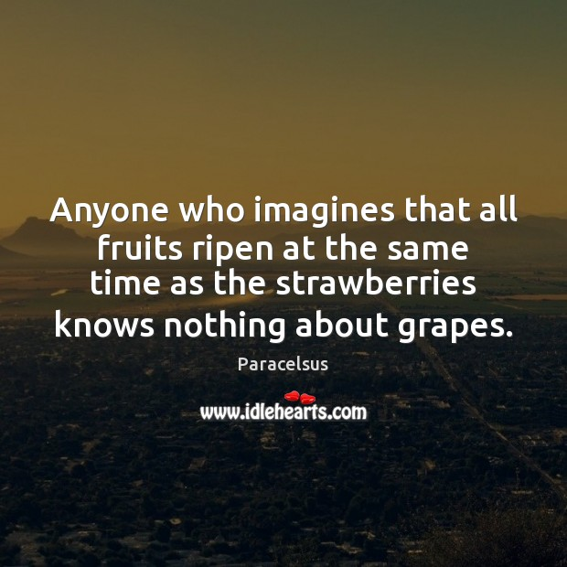 Anyone who imagines that all fruits ripen at the same time as Paracelsus Picture Quote