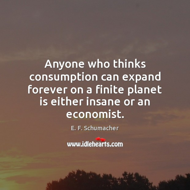 Anyone who thinks consumption can expand forever on a finite planet is Image