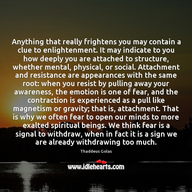 Anything that really frightens you may contain a clue to enlightenment. It Thaddeus Golas Picture Quote