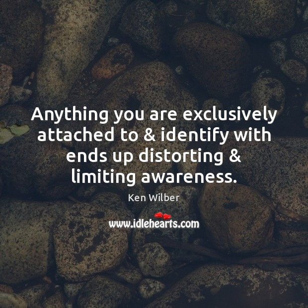 Anything you are exclusively attached to & identify with ends up distorting & limiting Ken Wilber Picture Quote