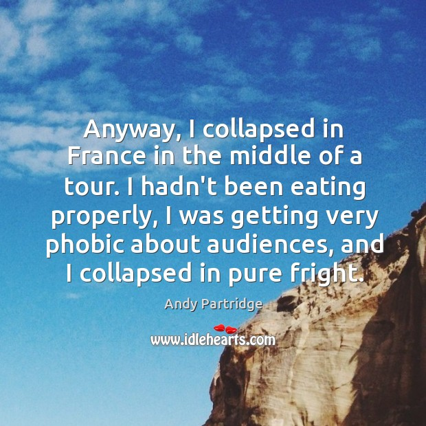 Anyway, I collapsed in France in the middle of a tour. I Andy Partridge Picture Quote