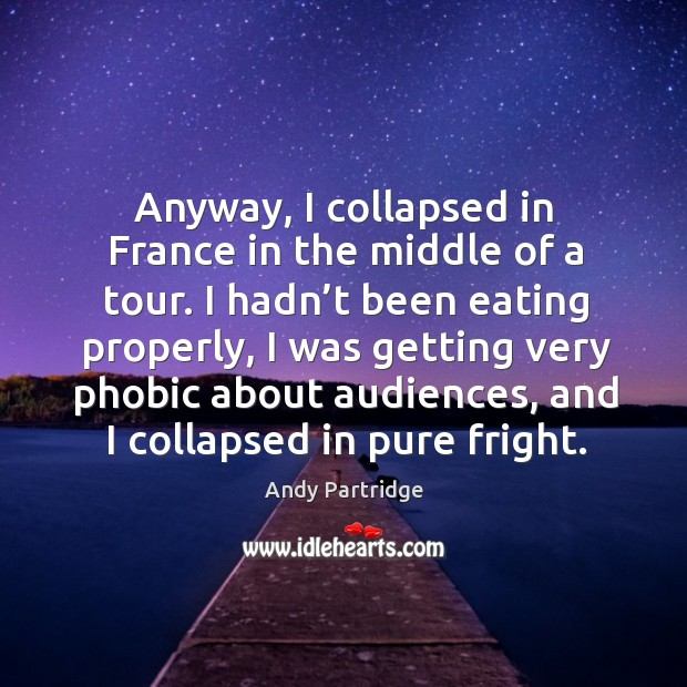 Anyway, I collapsed in france in the middle of a tour. Andy Partridge Picture Quote