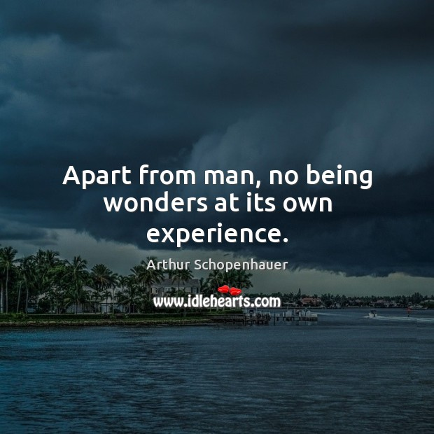Apart from man, no being wonders at its own experience. Image