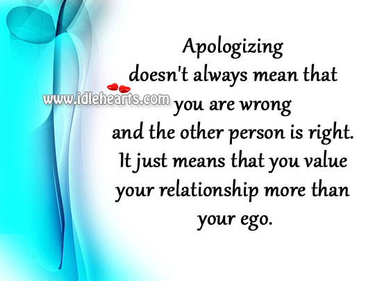 Apologize, Ego, Person, Relation
