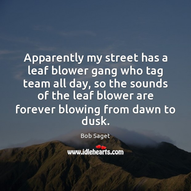 Apparently my street has a leaf blower gang who tag team all Bob Saget Picture Quote