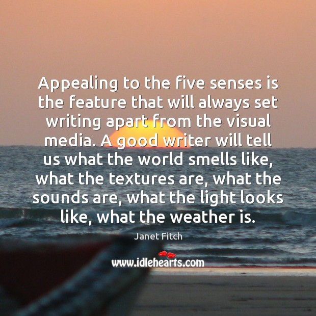 Appealing to the five senses is the feature that will always set Janet Fitch Picture Quote