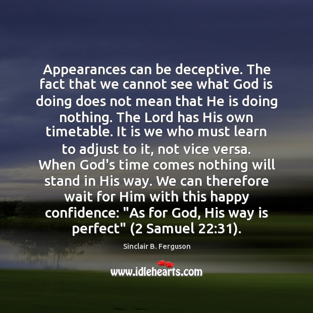 Appearances can be deceptive. The fact that we cannot see what God Sinclair B. Ferguson Picture Quote