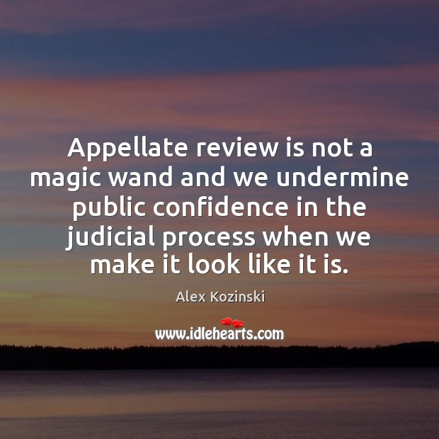 Appellate review is not a magic wand and we undermine public confidence Alex Kozinski Picture Quote