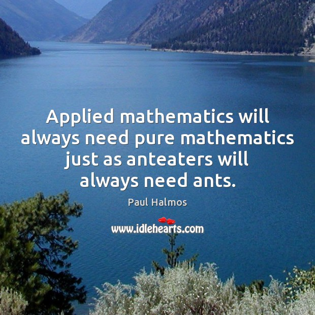 Applied mathematics will always need pure mathematics just as anteaters will always Paul Halmos Picture Quote