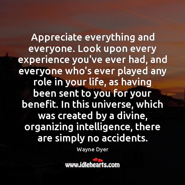 Image, Appreciate everything and everyone. Look upon every experience you've ever had, and