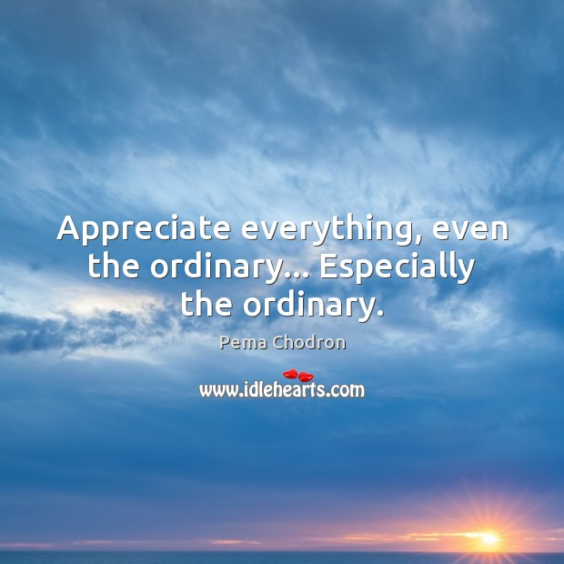 Image, Appreciate everything, even the ordinary… Especially the ordinary.