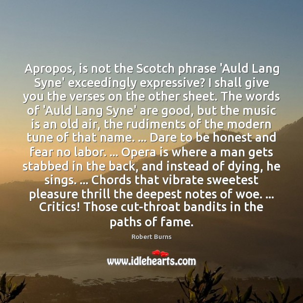 Image, Apropos, is not the Scotch phrase 'Auld Lang Syne' exceedingly expressive? I