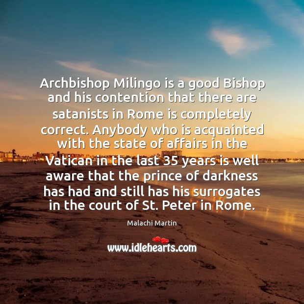 Image, Archbishop Milingo is a good Bishop and his contention that there are
