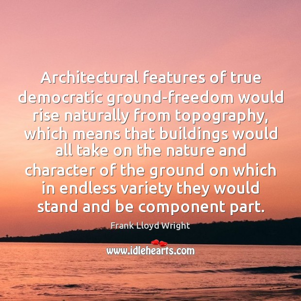 Architectural features of true democratic ground-freedom would rise naturally from topography, which Frank Lloyd Wright Picture Quote