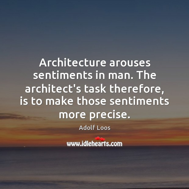 Architecture arouses sentiments in man. The architect's task therefore, is to make Image