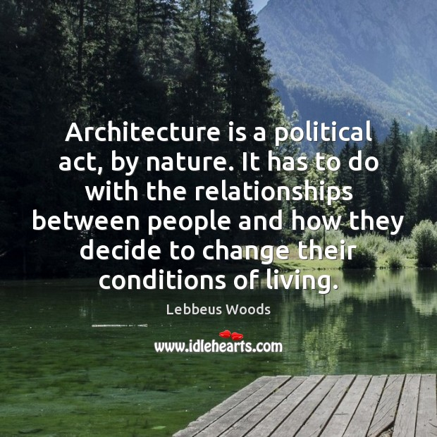 Architecture is a political act, by nature. It has to do with Architecture Quotes Image