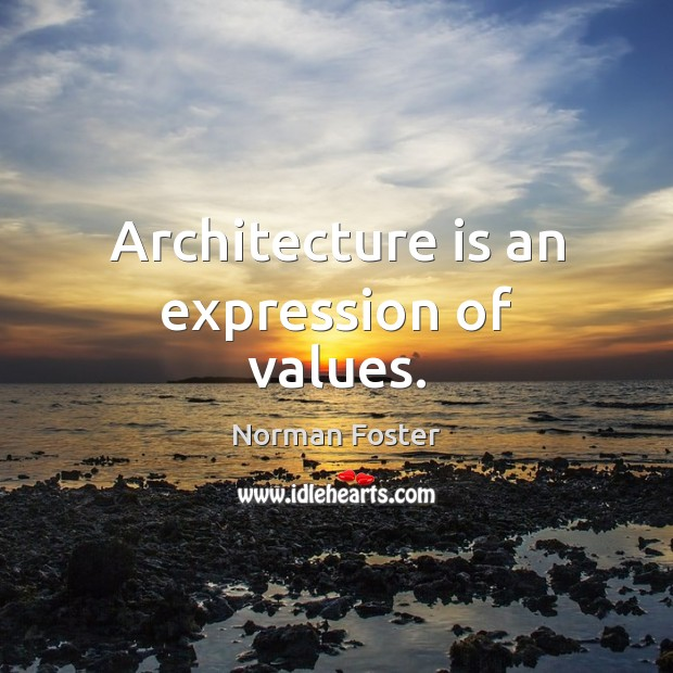 Architecture is an expression of values. Architecture Quotes Image