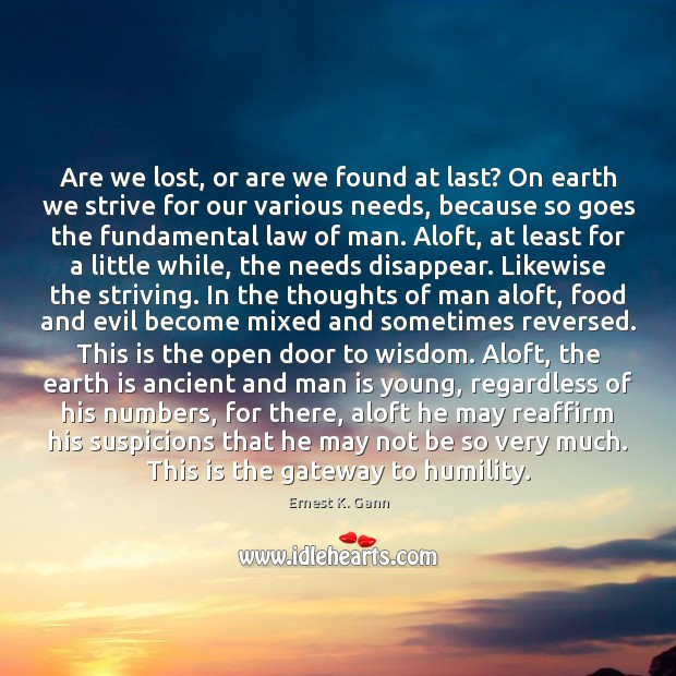 Are we lost, or are we found at last? On earth we Image