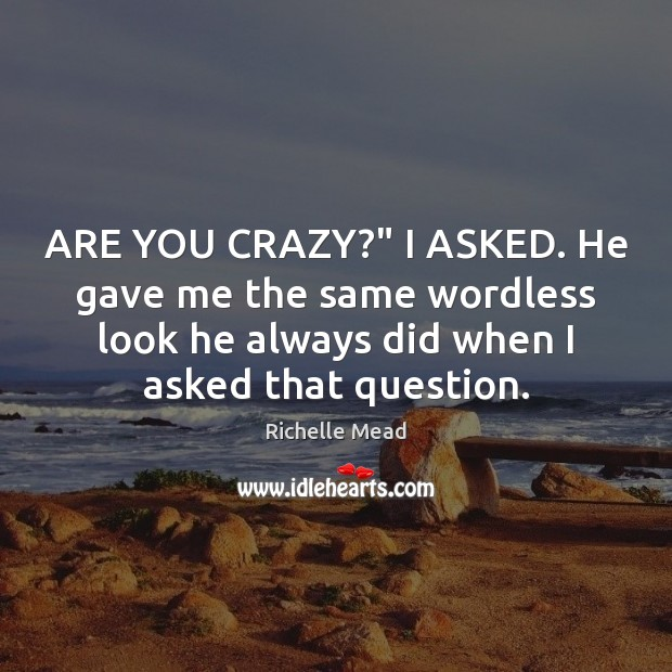 """Image, ARE YOU CRAZY?"""" I ASKED. He gave me the same wordless look"""