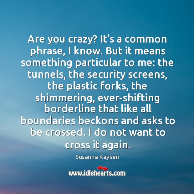 Are you crazy? It's a common phrase, I know. But it means Susanna Kaysen Picture Quote