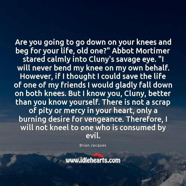 Are you going to go down on your knees and beg for Brian Jacques Picture Quote