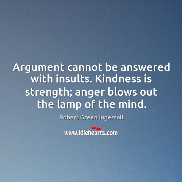 Argument cannot be answered with insults. Kindness is strength; anger blows out Image