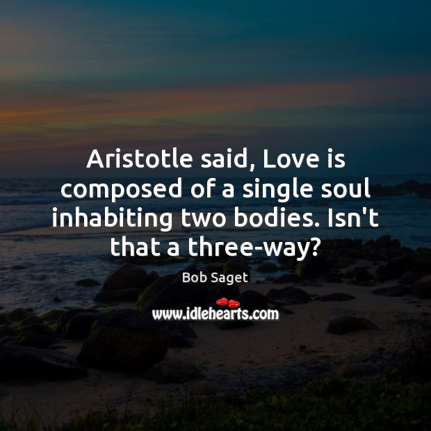 Aristotle said, Love is composed of a single soul inhabiting two bodies. Image