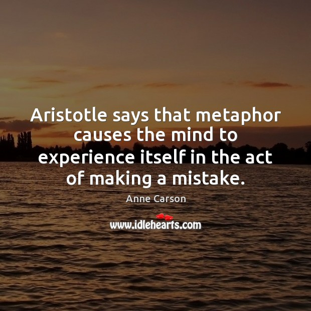 Image, Aristotle says that metaphor causes the mind to experience itself in the