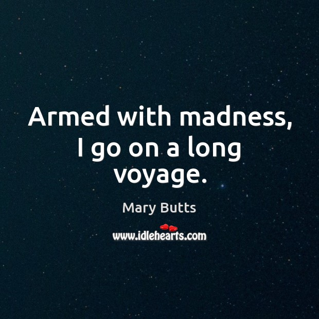 Armed with madness, I go on a long voyage. Image