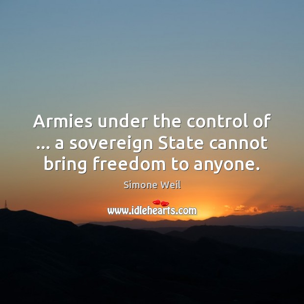 Image, Armies under the control of … a sovereign State cannot bring freedom to anyone.